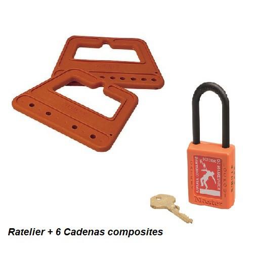 C35J6B275 - Jeu de 6 Cadenas sur Râtelier + 1 clé