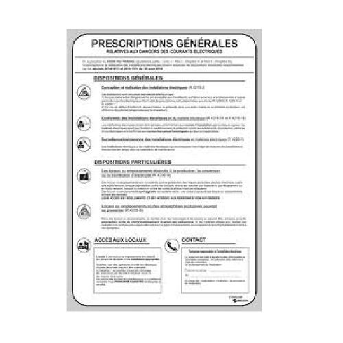 S756ALNM Pancarte des Prescriptions Générales Electrique